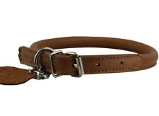 "Rolled Genuine Leather Dog Collar 15""-17.5"" neck  Chows Collies for Medium Breed"