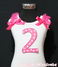 Baby Hot Pink Polka Dot 2nd Birthday with Bow White Top