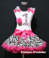 Baby Hot Pink Zebra Pettiskirt 1st Birthday Cupcake Set