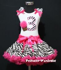 Baby Hot Pink Zebra Pettiskirt 3rd Birthday Cupcake Set