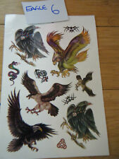 LARGE SHEET MEN'S BOYS EAGLE BIKER TEMPORARY TATTOO USA