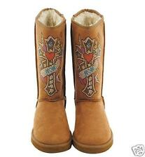 Designer style Winter Boots Natural Buff Brown Western Cross accent  size 8 & 9