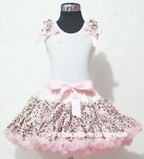 Light Pink Leopard Pettiskirt with White Pettitop Top Ruffles Pink Bows Set 1-8Y