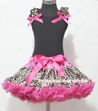 Hot Pink Leopard Pettiskirt with Black Pettitop Top Ruffle Hot Pink Bow Set 1-8Y