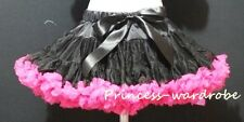 Pure Black Hot Pink FULL Pettiskirt Skirt Petti Party Dance Tutu Dress Girl 1-8Y