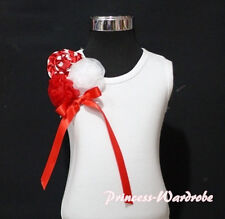 Xmas Christmas White Tank Top Shirt with Red Polka Dots Style Rose and Bow 1-8Y