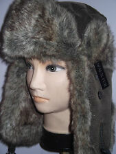 MEN'S LADIES  QUALITY LEATHER LOOK RUSSIAN TRAPPER SKI  WINTER HAT 58-60CM