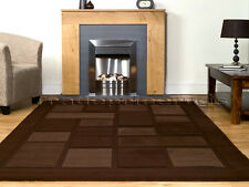 SMALL - EXTRA LARGE THICK MODERN CONTEMPORARY DARK BEIGE CHOCOLATE BROWN RUG