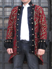 Red Gold Pirate Regal Gothic Military Jacket Coat Brocade Top Quality Theatrical
