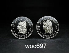 Argentina coin cufflinks 20 Centavos  Capped liberty head