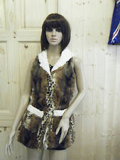 LADIES FASHIONABLE FAUX FUR ANIMAL LEOPARD PRINT LONG LINE GILET WITH HOOD 8-12