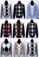Edinburgh 100% Cashmere Mens Argyle Jumper Sweater Intarsia Pull Over New