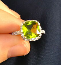GREEN PERIDOT CZ RIGHT HAND RING STERLING SILVER 925