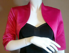 Pink Satin Bolero/Shrug/Jacket/Stole/Shawl/Wrap/Tippet 3/4 Sleeve Lined UK 4-24