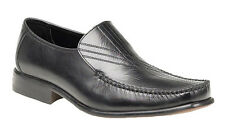 Mens Route 21 Black Leather Shoes Fashion Formal Slip On Smart Office Work