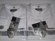 2 Boys Quality Zeco School Short Sleeve Shirt  3 - 13 Years White or Blue Shirts
