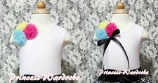 White Tank Top Shirt with Vivid Rainbow Style Rosettes For Girl Pettiskirt NB-8Y