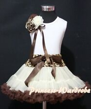 Cream Brown Leopard Pettiskirt Skirt with White Pettitop Top Rose Bow Girl 1-8Y