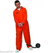 MENS STAG NIGHT ORANGE CONVICT PRISONER JUMPSUIT BOILER SUIT FANCY DRESS COSTUME