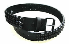 GENUINE LEATHER BELT 3 ROWS BLACK PYRAMID STUDS USA QUALITY REMOVABLE BUCKLE NEW