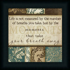 Life Is Not Measured By The Number of Breaths Sign Brown Blue Damask Framed Art