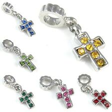 Cross Silver Cubic Zirconia Dangle European Charm Bead For Bracelet Necklace