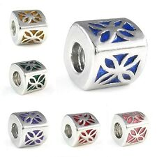 Flower Silver Enamel European Spacer Charm Bead For Bracelet Necklace