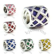 Silver Enamel European Spacer Charm Bead For Bracelet Necklace