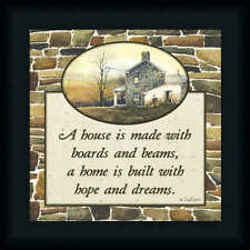 A House Is Made With Boards And Beams by John Rossini Country Sign Framed Art