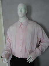MENS VINTAGE PLEATED TUXEDO SHIRT  LAYDOWN COLLAR / U.S. MADE /  PASTEL PINK