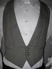 MEN'S CHECKERED BACKLESS TUXEDO VEST, VINTAGE, 4 BUTTONS, LOW CUT / MADE IN USA