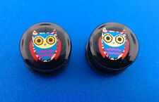 Purple Owl Logo With Black Single Flared Acrylic Ear Plugs.( 2 Gauge to 1 inch )