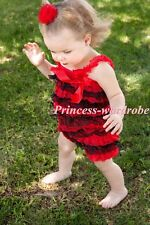 Christmas NewBorn Baby Red Black  Layer Chiffon ONE PIECE Petti Romper NB-3Year