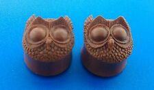 New Organic Hand-Craved Owl plugs made from Chocolate Sabo Wood.( 2 G to 1 Inch)