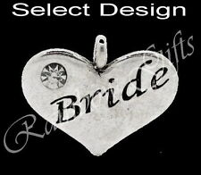 WEDDING CHARMS SILVER BEADS FOR LINK BRACELET BRIDE GROOM USHER BRIDESMAID ETC