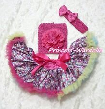 Newborn Hot Pink Floral Pettiskirt Crochet Tube Top & headband 3PC Set 3-12Month