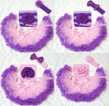 Newborn Light Pink Purple Pettiskirt Crochet Tube Top & headband 3PC Set 3-12M