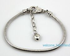 10pcs 18KGP /P Lobster Clasp Snake Chain Charm Bracelets Fit European Bead P17
