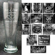 Personalized Pilsner Glasses Groomsmen Bridesmaids Wedding Party Gifts Custom