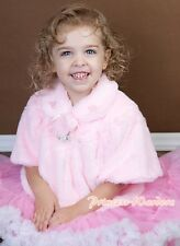 Light Pink Kids Girl Soft Fur with Pearl Bead Capelet Coat Size 2-6Y Shawl SH21