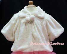 Cream White Kids Girl Soft Fur with Pearl Bead Capelet Coat Size 2-6Y Shawl SH20