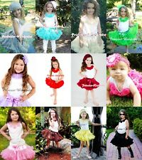 White Tank Top in Rosettes with Single Color Pettiskirt Skirt Set For Girl 1-8Y