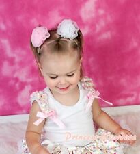 White Pettitop with White Rainbow Dots Ruffles Light Pink Bow 4 Pettiskirt NB-8Y