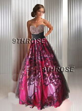 WHAT A WONDER! BLACK & FUCHSIA BEADED FORMAL/EVENING/PROM/BRIDESMAID/BALL GOWN