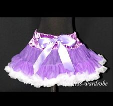 Grape Purple White FULL Pettiskirt Skirt Petti Party Dance Tutu Dress Girl 1-8Y