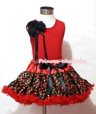 Red Cherry Print Pettiskirt Tutu Red Pettitop Bunch Black Rose Bow Girl Set 1-8Y