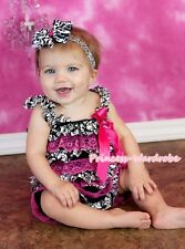 NewBorn Baby Hot Pink Damask Floral Lace Chiffon ONE PIECE Petti Romper NB-3Year