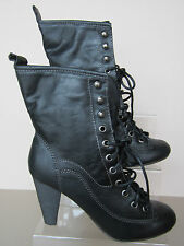 Ladies Barricci Black Boots Lace Up with Heel - L8588