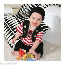 BOYS BABY TODDLER BUCCANEER STRIPED PIRATE FANCY DRESS COSTUME AND HAT 3 SIZES