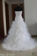 2012 New Fashion Strapless White/Ivory Wedding Dress Size UK 6 8 10 12 14 16